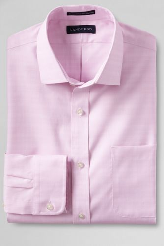 Men's Regular Tailored Fit Easy-iron Spread Collar Pinpoint Shirt