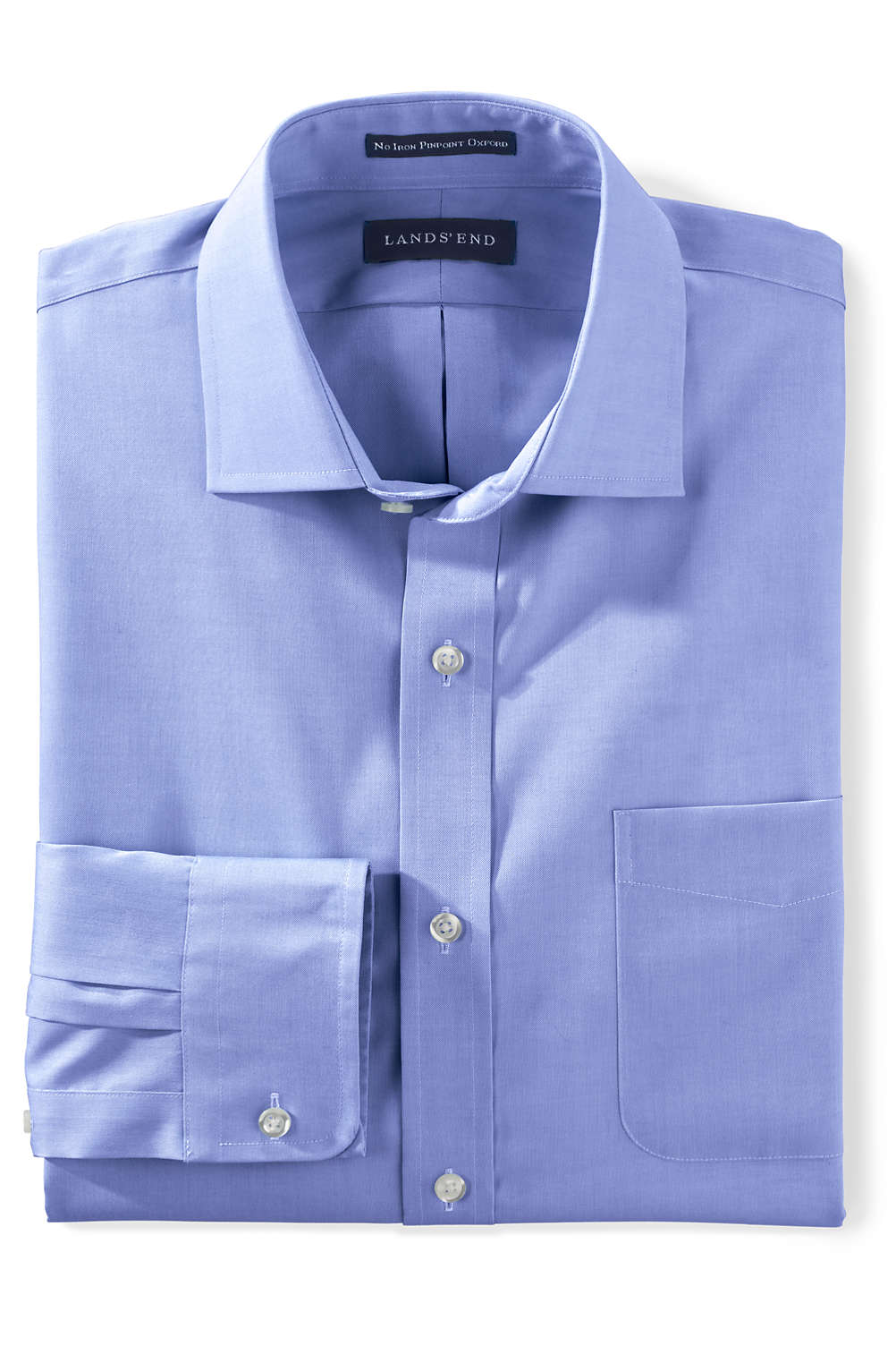 Mens Tailored Fit Solid No Iron Supima Pinpoint Spread Collar Shirt