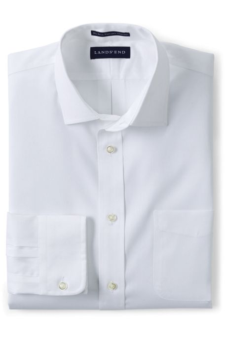 Men's Tall Tailored Fit Solid No Iron Supima Pinpoint Spread Collar Dress Shirt