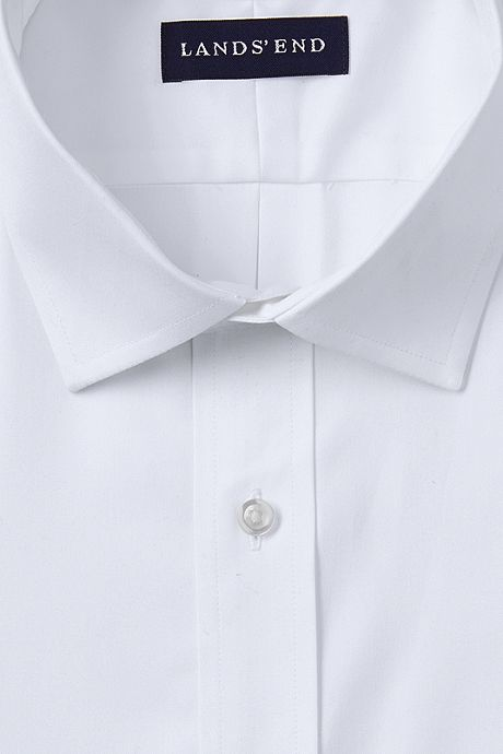 Men's Tall Traditional Fit Solid No Iron Supima Pinpoint Spread Collar Dress Shirt
