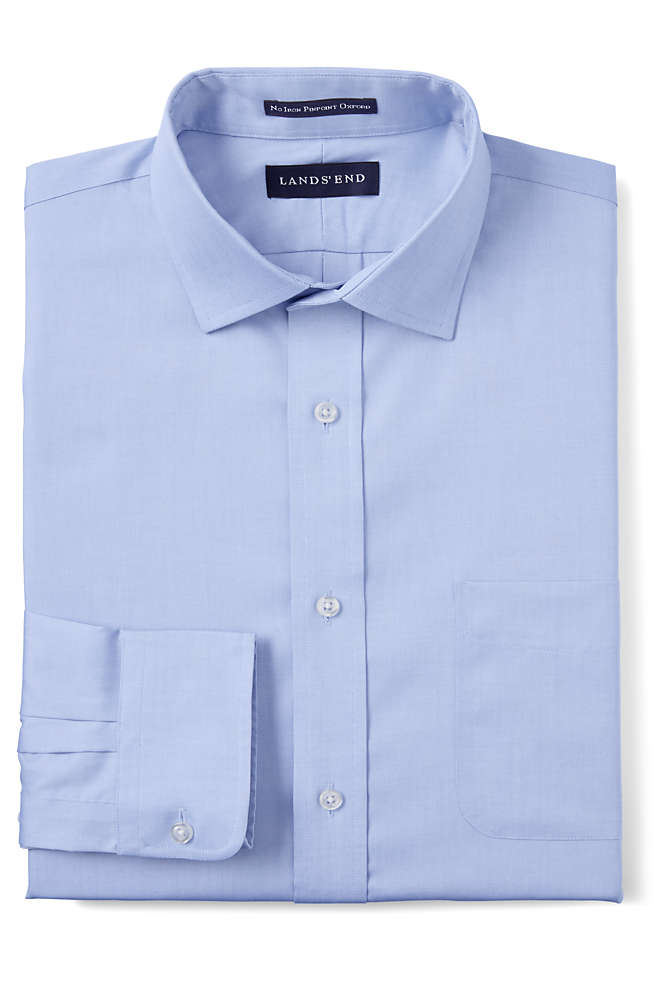 Men's Tailored Fit Spread Collar No Iron Supima Pinpoint Dress Shirt, Front