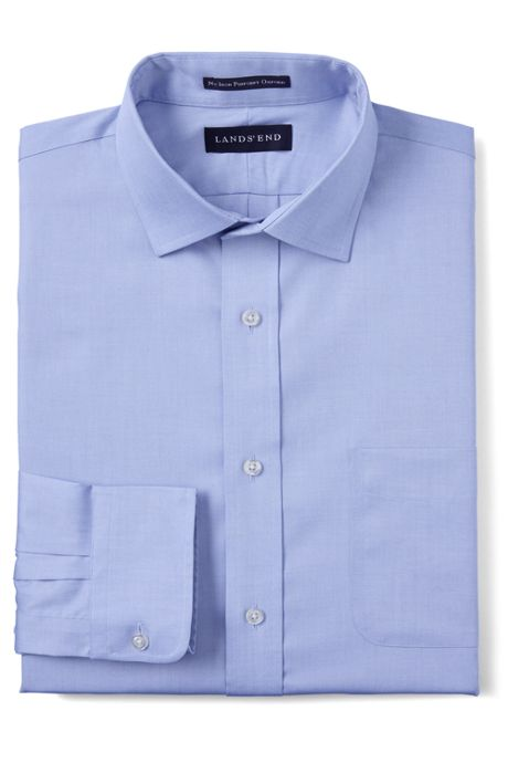 Men's Traditional Fit Spread Collar No Iron Supima Pinpoint Dress Shirt