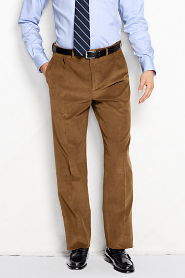 Men's Pleat Front Comfort Waist 18-wale Corduroy Trousers from ...