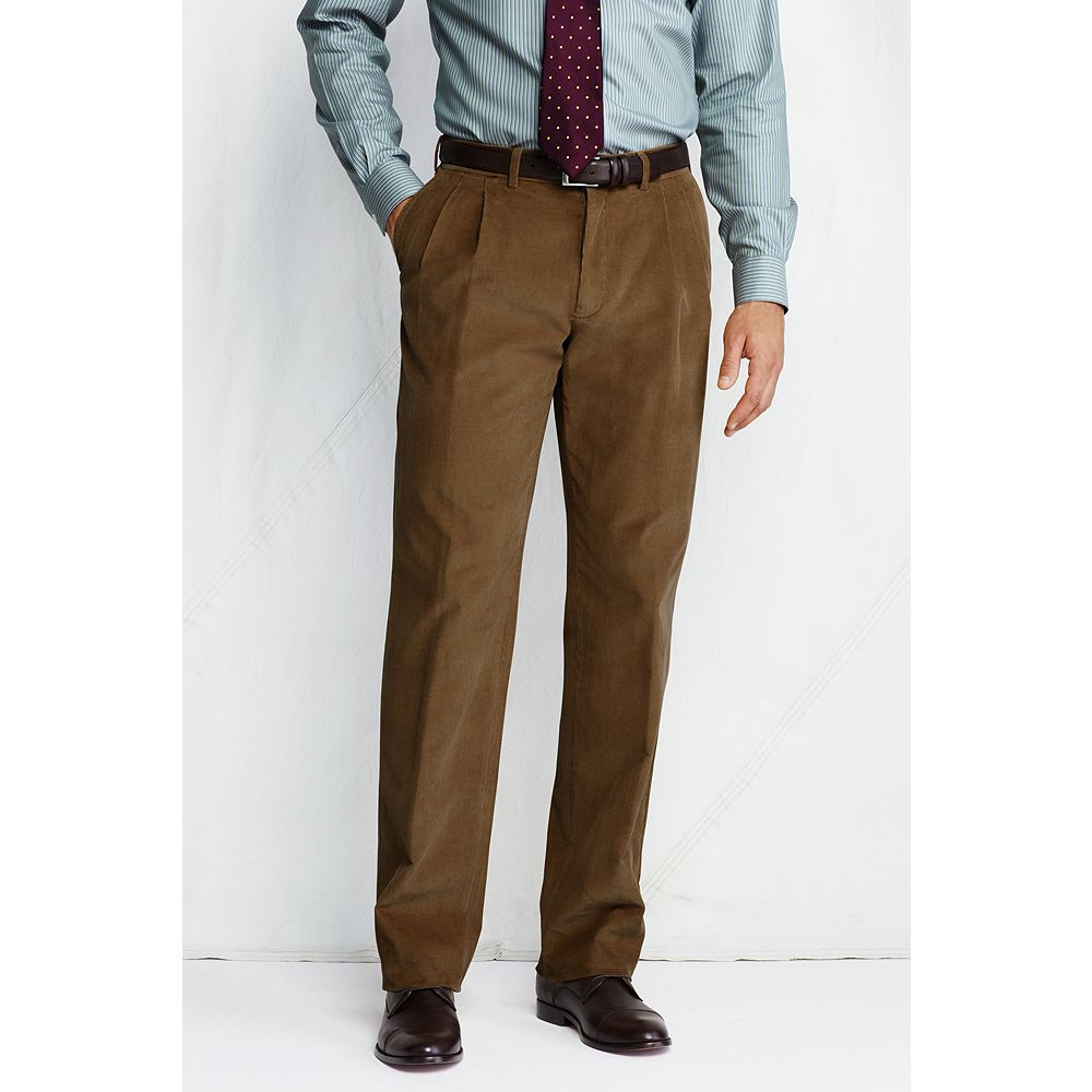Lands' End Men's Regular Pleat Front Traditional Fit 18-wale Corduroy Dress Pants at Sears.com