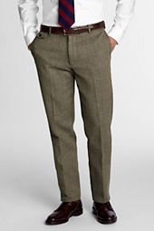 Men's Plain Front Tailored Fit Herringbone Trousers