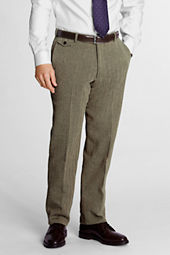 Men's Plain Front Traditional Fit Herringbone Trousers