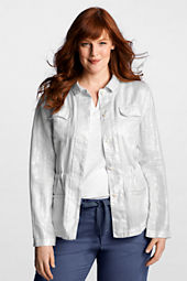 Women's Long Sleeve Metallic Linen Jacket