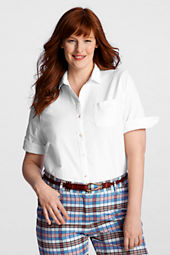 Women's Plus Size Half Sleeve Oxford Shirt