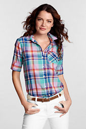 Women's Half Sleeve Buttondown Madras Shirt