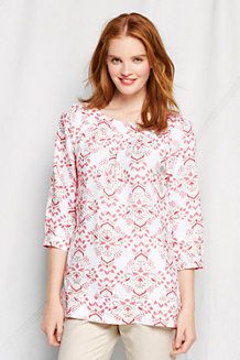 Women's Floral Print Ballet Neck Linen Top
