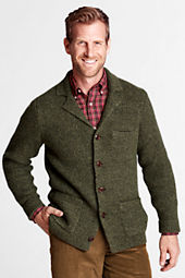 Men's Tweed Notch Collar Cardigan Sweater