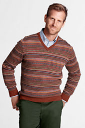Men's Merino Wool Fair Isle V-neck Sweater