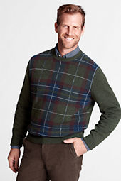 Men's Meridian Cotton Wool Plaid Crew Sweater