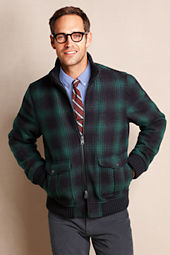 Men's Wool Plaid Bomber