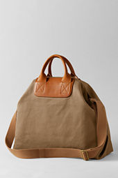 Women's Leather Twill Canvas Tote