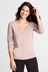 Women's Long Sleeve Lightweight Cotton Modal Lace Top