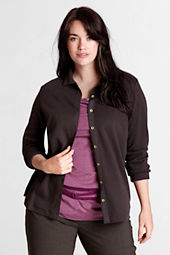 Women's Plus Size Long Sleeve Wool Ponté Button-front Shirt