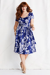 Women's Plus Size Short Sleeve Sateen V-back Fit and Flare Dress