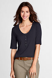 Women's Elbow Sleeve 1X1 Rib V-neck Henley