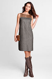 Women's Sleeveless Leather Yoke Tweed Dress