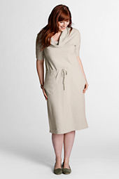 Women's Plus Size 3/4-sleeve French Terry Slub Dress