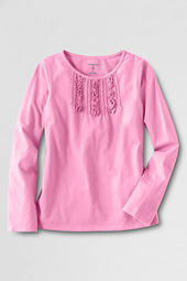 Girls' Long Sleeve Ruffle Pintuck Front T-shirt