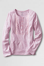 Girls' Long Sleeve Knit Pintuck Henley Shirt