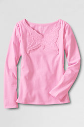 Girls' Long Sleeve Applique Front T-shirt