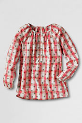 Girls' Button-front Woven Pullover Top