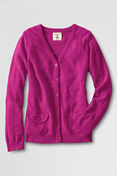 Girls' Long Sleeve Lightweight Slub Cardigan Sweater
