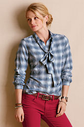 Women's Bow Front Flannel Blouse