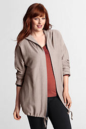 Women's Plus Size Long Sleeve Starfish Twill Hooded Cardigan