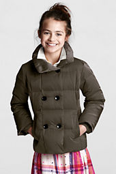 Girls' Down Puffer Pea Coat