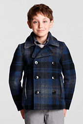 Boys' Plaid Wool Coat