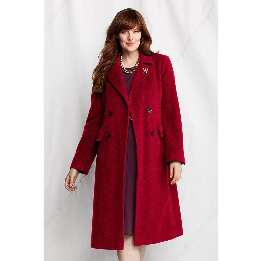 Lands' End Women's Plus Size Luxe Wool Double Breasted Coat at Sears.com