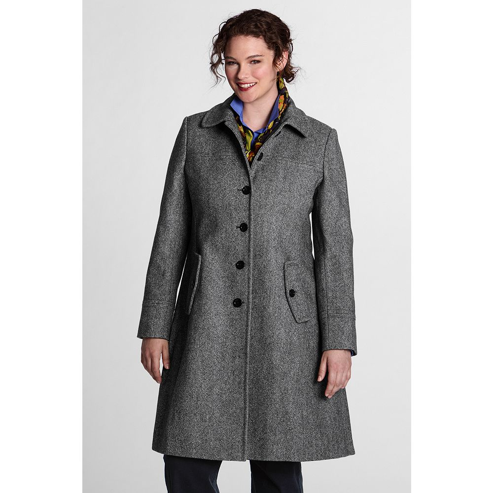 Lands' End Women's Plus Size Pattern Wool Swing Car Coat at Sears.com
