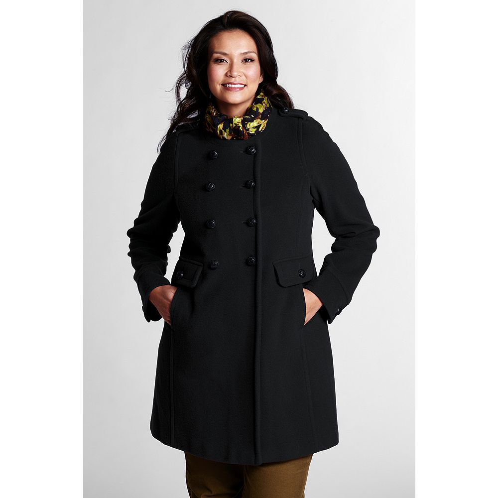 Lands' End Women's Plus Size Luxe Wool Scoopneck Coat at Sears.com