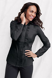 Women's Long Sleeve Ruffle Pleat Stretch Shirt