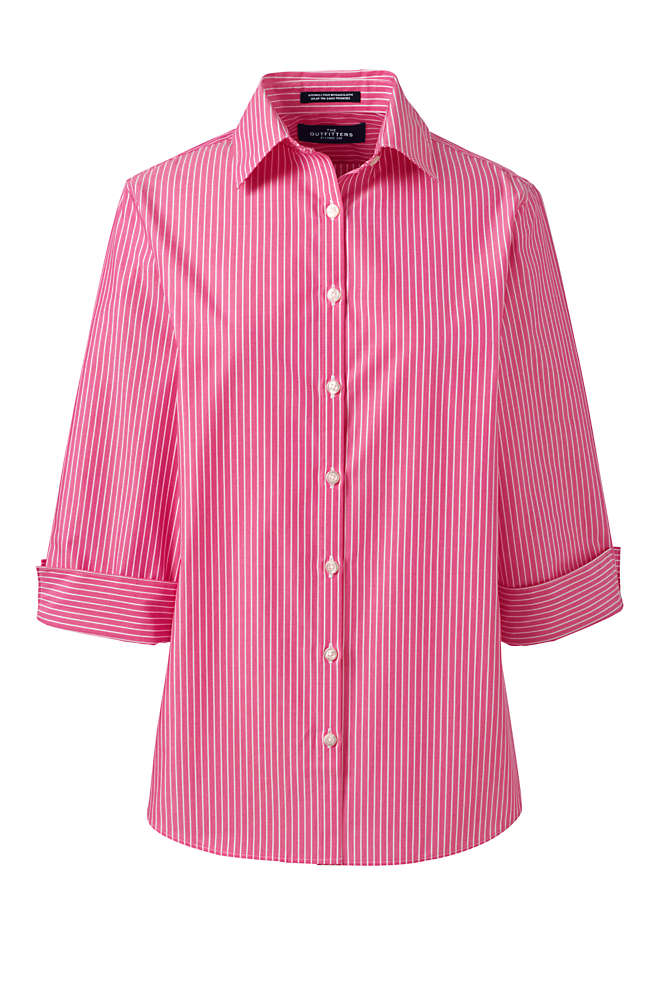 Women's 3/4 Sleeve Pattern Broadcloth Shirt, Front