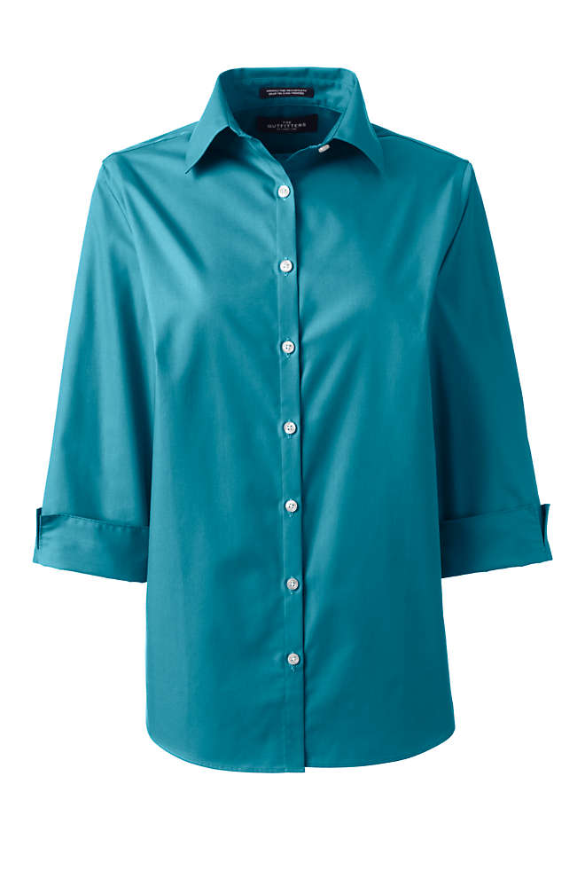 Women's 3/4 Sleeve Broadcloth Shirt, Front