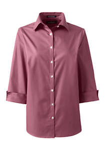 Women's Plus Size 3/4 Sleeve Broadcloth Shirt, Front