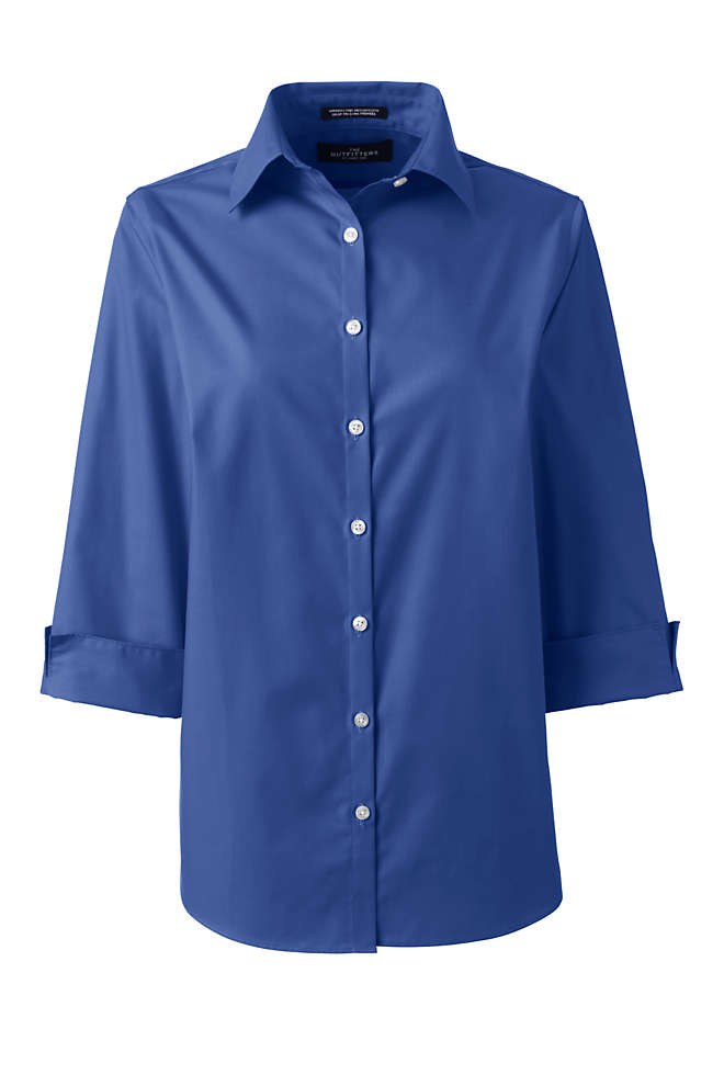 Women's Petite 3/4 Sleeve Broadcloth Shirt, Front