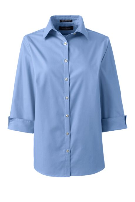Women's Plus Size 3/4 Sleeve Broadcloth Shirt
