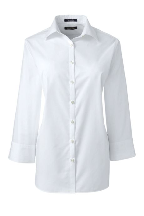 School Uniform Women's Petite 3/4 Sleeve Broadcloth Shirt