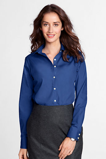Women's Regular Long Sleeve Modern Broadcloth Shirt - Dark Cobalt Blue, 18