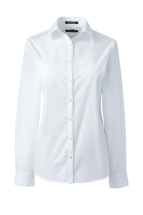 School Uniform Women's Petite Long Sleeve Broadcloth Shirt