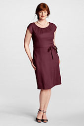 Women's Plus Size Shirred Linen Sheath Dress