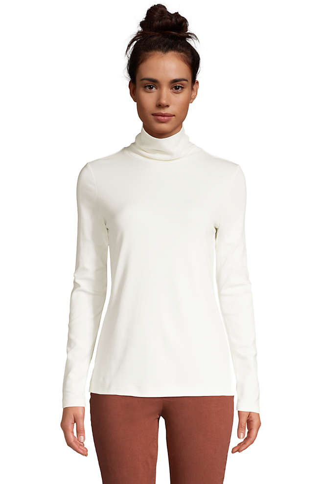 Women's Supima Cotton Long Sleeve Turtleneck, Front