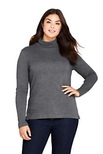 Women's Plus Size Supima Cotton Long Sleeve Turtleneck, Front