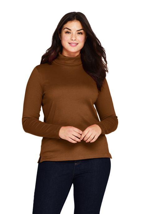 Women's Plus Size Supima Cotton Long Sleeve Turtleneck